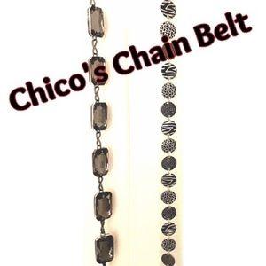 Chico's Chain Belt Rhinestone or Animal Print NWOT
